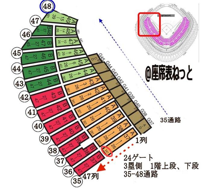 東京ドーム 24 ゲート 3塁側 <br />  1階上段 35から47通路<br />  1階下段 35から48通路<br />  詳細座席表