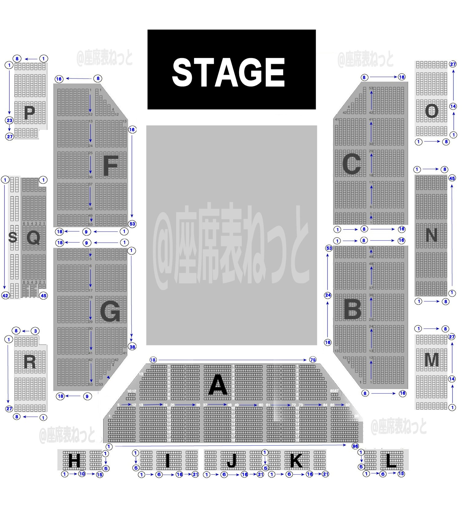 マリンメッセ福岡 会場全体詳細座席表