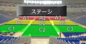 ブロック分けされる場合のセンター席の例